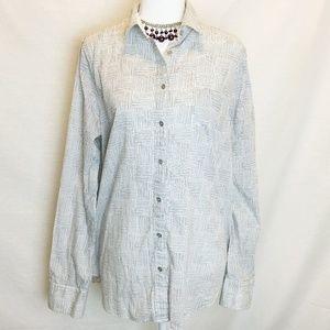 J.Crew Black/White Print Button Down Shirt Blouse